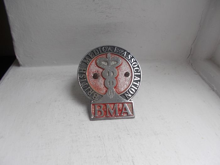 Badge - Vintage B.M.A chrome on brass and enamel car grille badge with original fixings early - 1930-1940