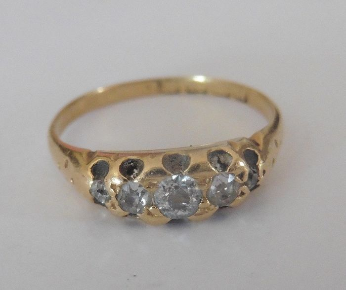 Victorian 1894  18 ct gold- diamond - 18 kt. Yellow gold - Ring - 0.20 ct Diamond