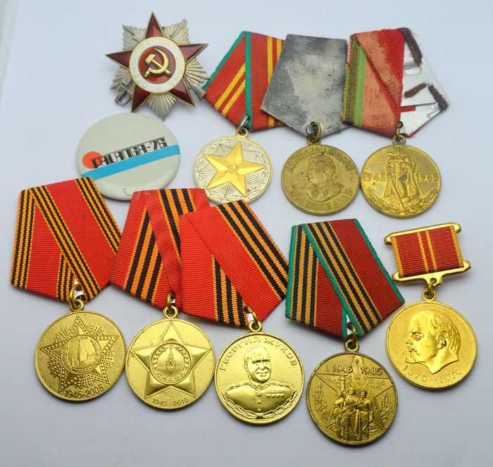 """Russia - Order """"Patriotic War"""" 2nd degree with number + 8 other medals and 1 badge - Medal"""