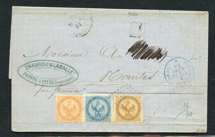 France 1868 - Letter with stamps of the colonies