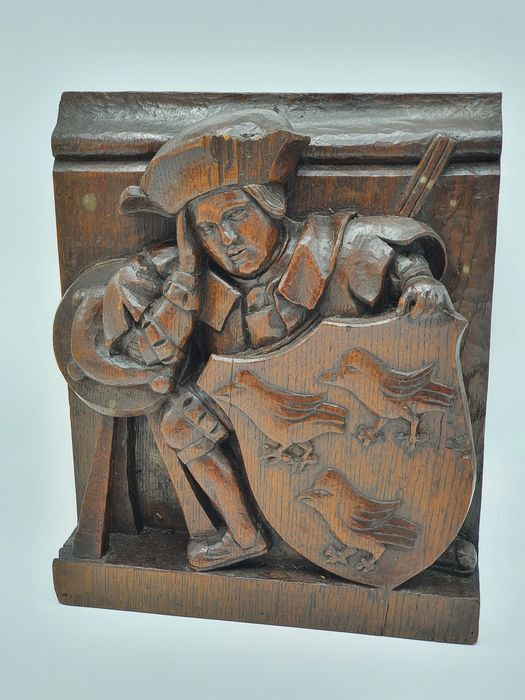 Panel - Nobleman with noble coat of arms - Wood - about 1800