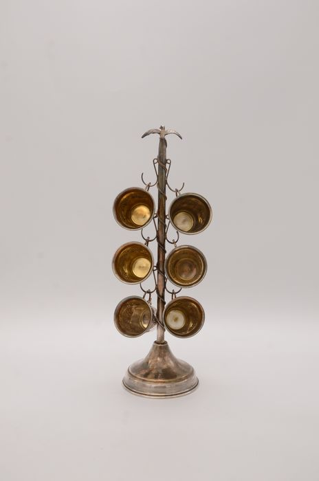 Kiddush wine cups on a stand (6) - .925 silver - Israel - Mid 20th century