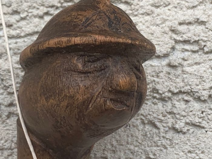 France - Wooden cane with helmeted firefighter head