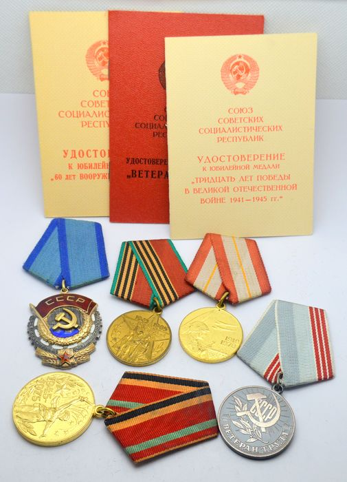 "Russia - Order ""Red Banner'', Sterling Silver, with number #1082*** + 4 medals with documents - Medal"