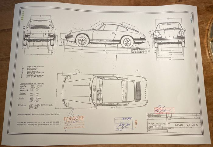 Decorative object - ARTwork Porsche 911S 1969 Blueprint / Konstruktionszeichnung/ Blueprint. - Porsche