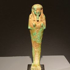 Oud-Egyptisch Faiance Shabti for Hor, collectie Sir William M. Flinders Petrie, - 15×4×3 cm - (1)