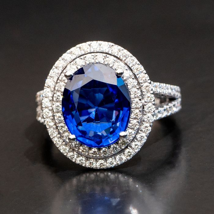 ***No Reserve Price*** Oval Sapphire Diamond Ring - 14 kt. White gold - Ring - 6.00 ct Sapphire - 1.00ct Diamonds D VVS