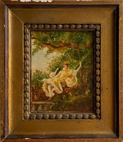 "Miniature Painting - ""The Swing"" - Copper - 19th century"
