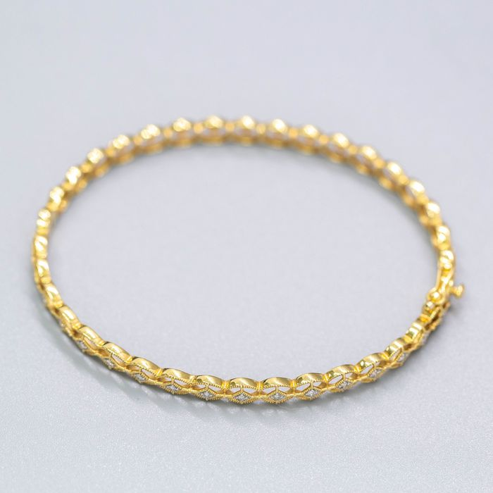 18 kt. Yellow gold, 6.69g - Bracelet - 0.25 ct Diamond - No Reserve Price