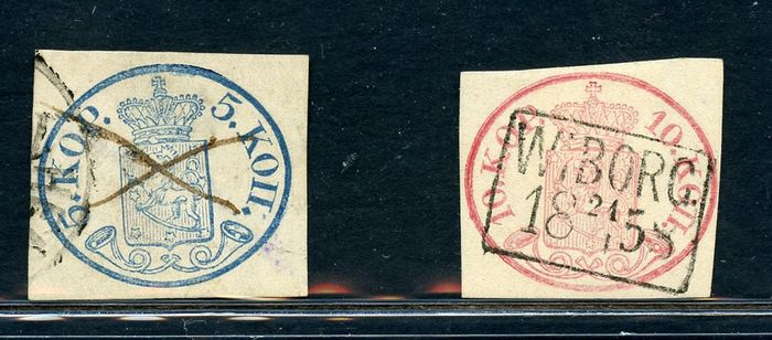 Finnland 1856 - Coat of arms in an oval - 5 k blue and 10 k red - Unificato NN. 1-2