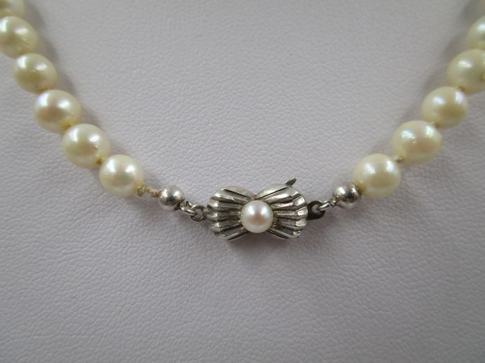 47.5cm Collier / Perlenkette Ø 5.8mm - 835 Akoya pearls, Silver - Necklace
