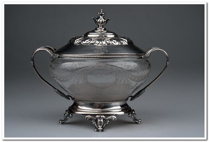 Konfituriera - .950 silver, Glass - France - Second half 19th century
