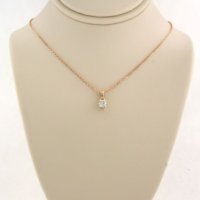 14 kt. Pink gold - Necklace with pendant - 0.08 ct Diamond