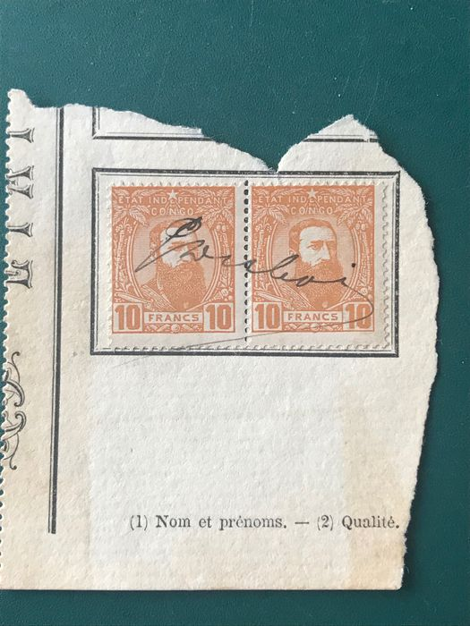 Belgian Congo 1887 - 10 Fr king Leopold lI to the right but on fragment - OBP / COB 13