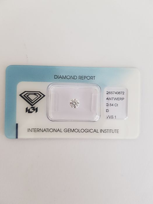 "1 pcs Diamond - 0.54 ct - Brilliant - D (colourless) - VVS 1 """" IDEAL CUT ROUND BRILLIANT"""""