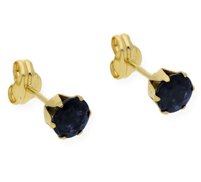 18 kt. Yellow gold - Earrings - 0.20 ct Sapphire