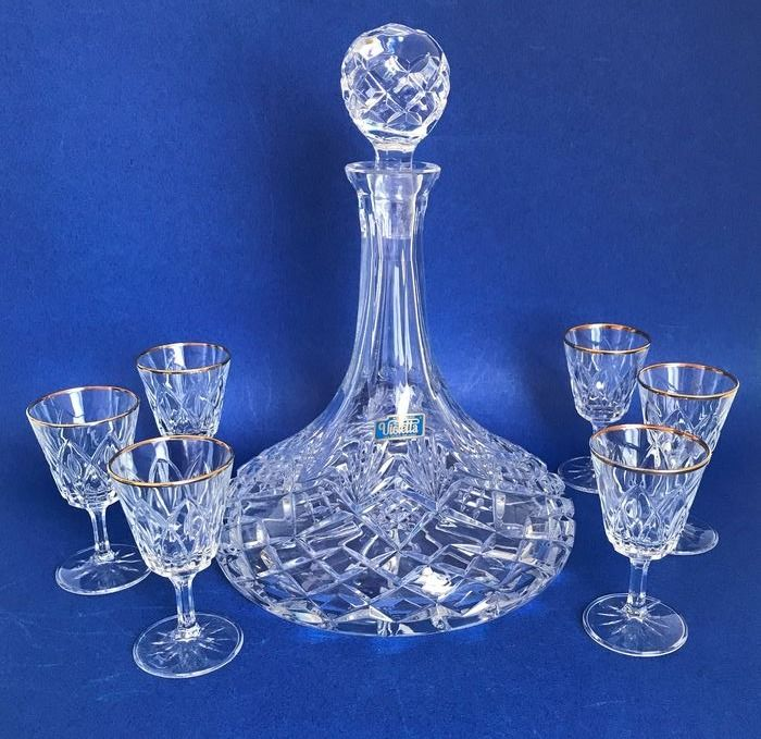 Violetta - Scheepskaraf, handcut crystal, with 6 glasses (7)
