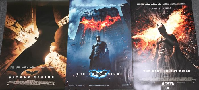 Batman - Lot of 3 -  Batman Begins / The Dark Knight / The Dark Knight Rises - Poster, Original US Cinema release 1 Sheets