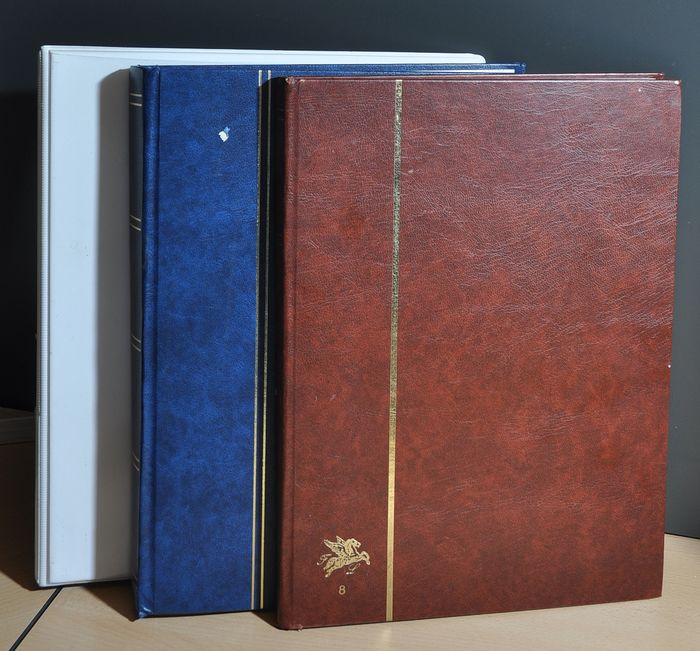 English speaking areas - Batch with series, stamps and blocks in stock books and in a ring binding