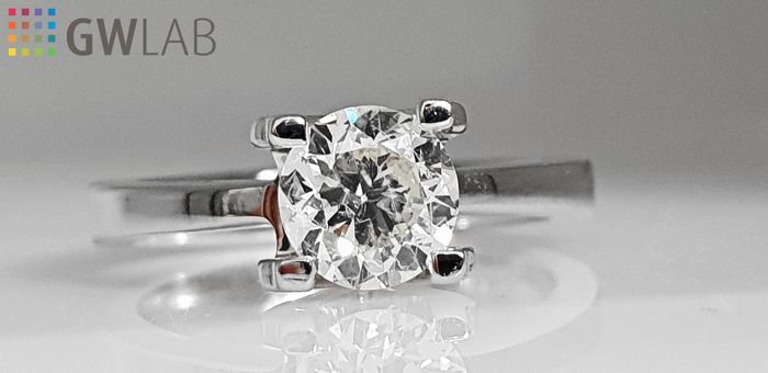 18 kt. White gold - Ring - Clarity enhanced 1.02 ct Diamond - No Reserve