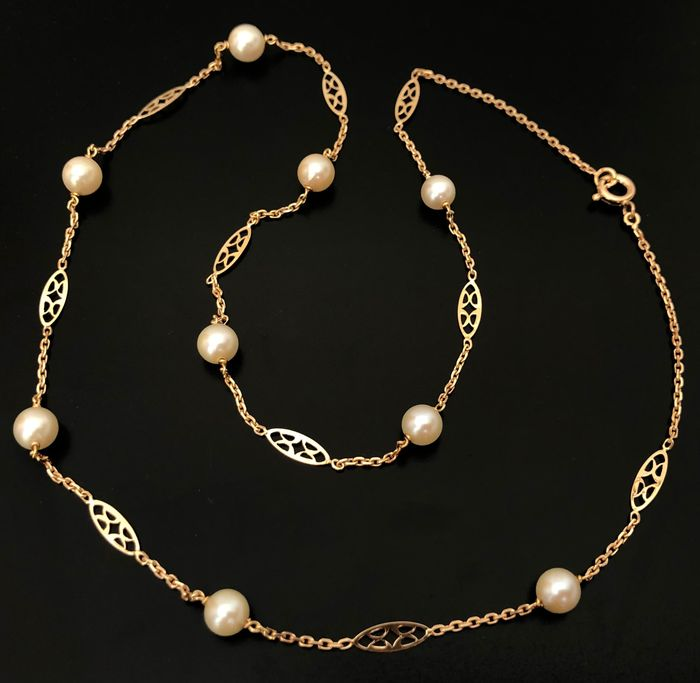 18 kt. Gold, Pink gold - Ancient necklace length 47 cm decorated with 9 sea pearls