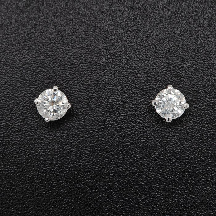 14 kt. White gold, 0.59g - Earrings - 0.40 ct Diamond - No Reserve Price