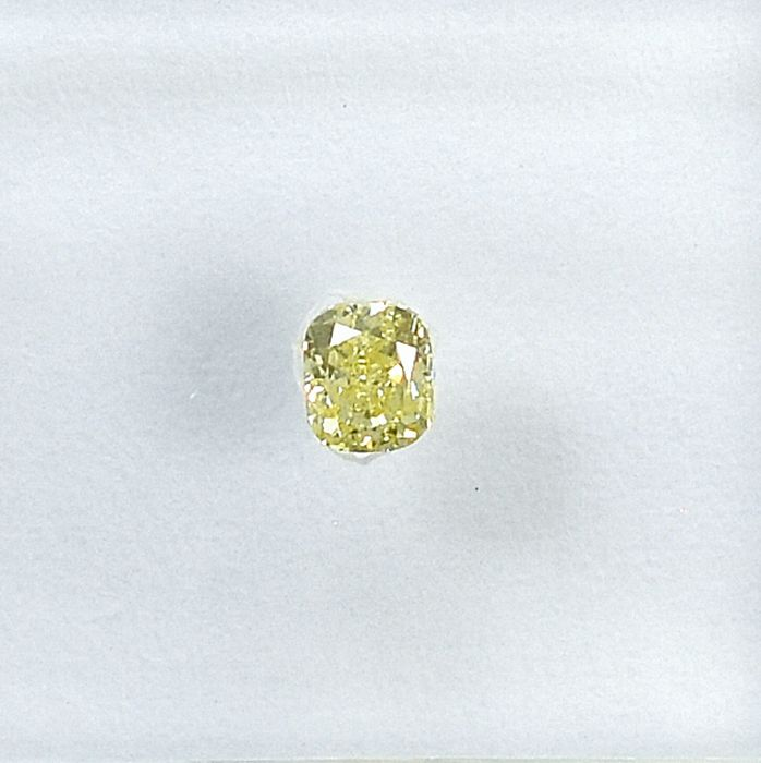 Diamond - 0.13 ct - Cushion - Natural Fancy Light Yellow - VS2 - NO RESERVE PRICE
