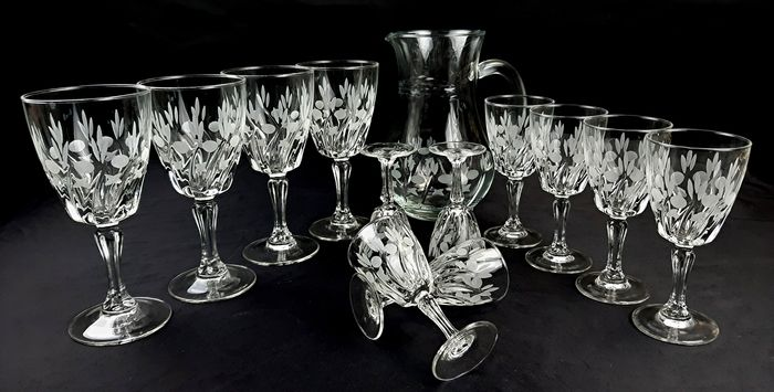 "Cristalleria ""Cristal d'Arques"" - Beautiful vintage French set of glasses (No. 4 for water, No. 4 for wine and No. 4 for liqueur) and carafe (13)"