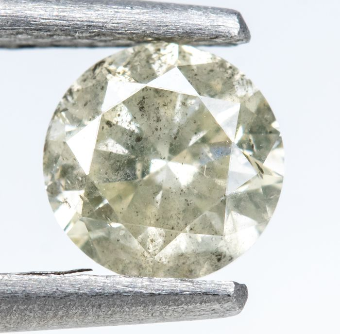Diamond - 0.47 ct - Brilliant - U - V , light Yellowish Gray - I2  *NO RESERVE*