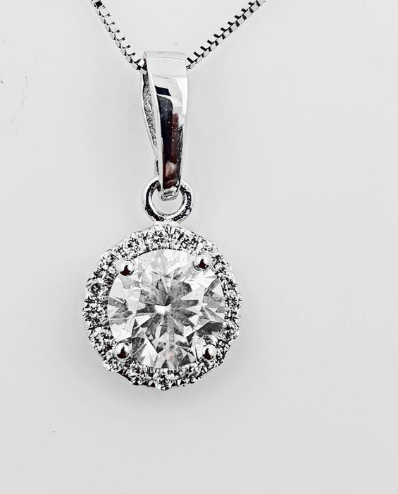 14 kt. White gold - Necklace with pendant - Clarity enhanced 1.20 ct Diamond - No Reserve