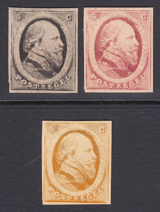 Netherlands 1864 - King Willem III, proofs of the 5 cent PC21a, PC21b en PC21c