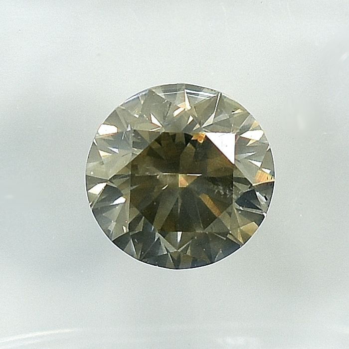 Diamond - 1.51 ct - Brilliant - Natural Fancy Dark Grayish Yellow - Si2 - VG/VG/VG