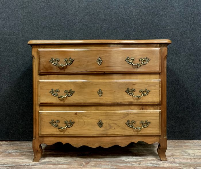 Curved solid cherry chest - Louis XV Style