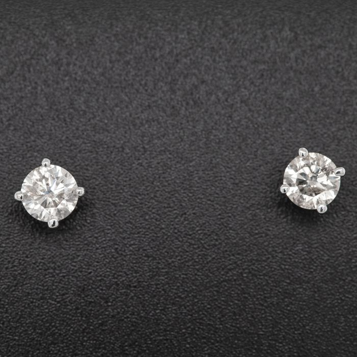 14 kt. White gold, 1.46g - Earrings - 1.23 ct Diamond - No Reserve Price