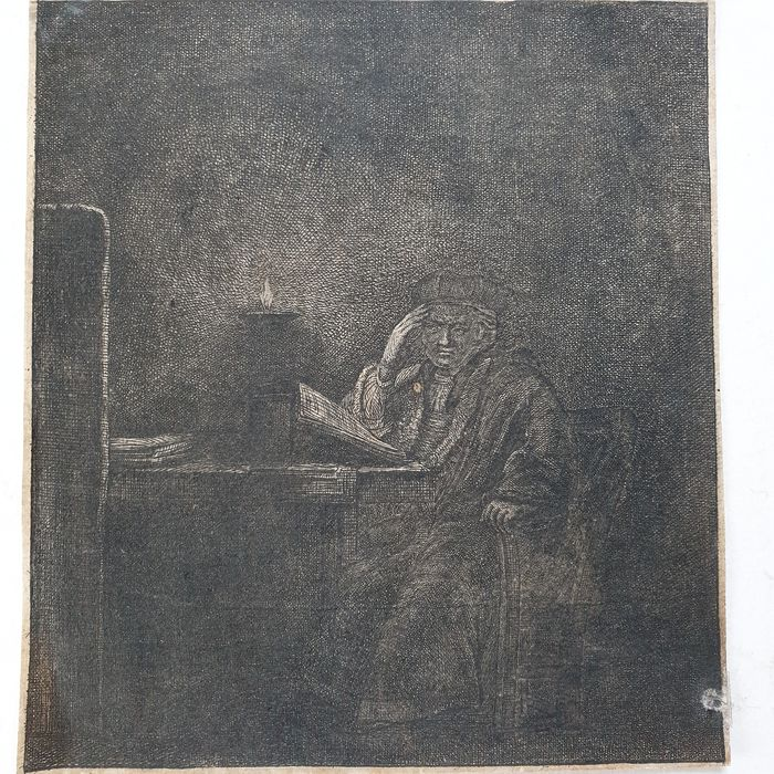 Rembrandt Harmensz. Van Rijn (1606-1669), after - Study at a Table by Candlelight