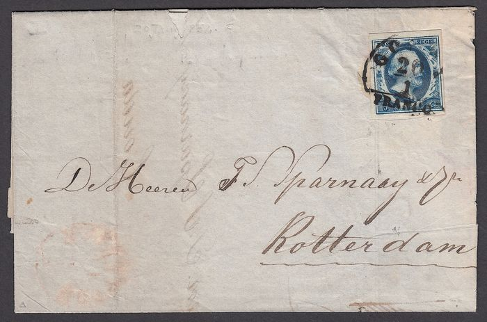 Netherlands 1852 - Folding letter with NVPH 1a shipped from Gouda to Rotterdam on 20 January 1852