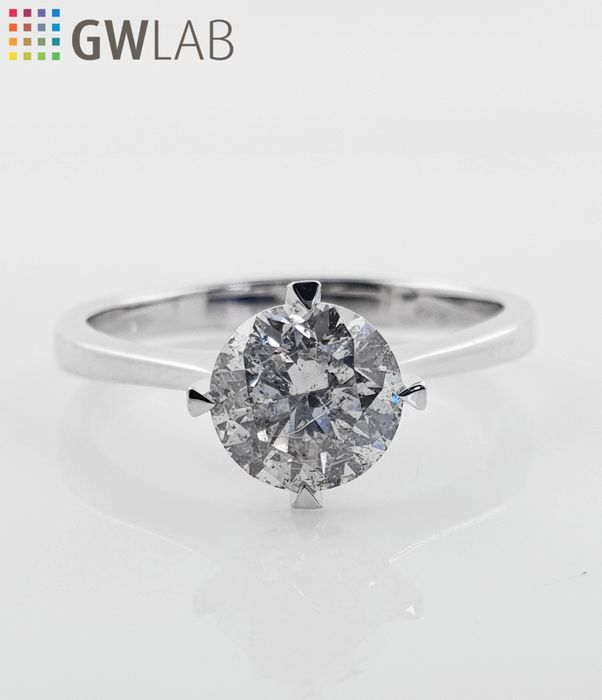 14 kt. White gold - Ring - Clarity enhanced 1.13 ct Diamond - No Reserve