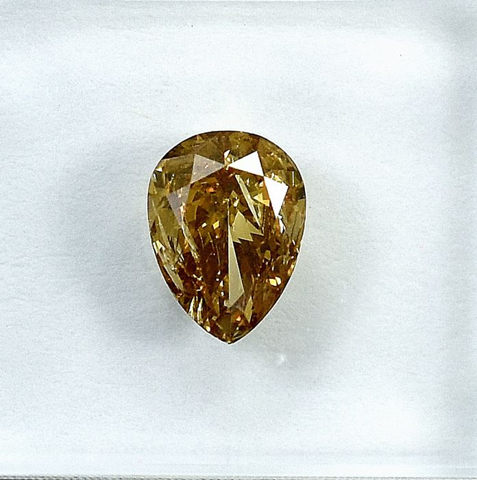 Diamond - 0.90 ct - Pear - Natural Fancy Brown - I1