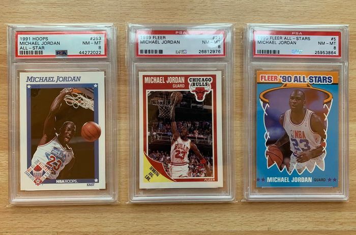 Michael Jordan PSA graded 8 - 1989 Fleer - 1990 Fleer - 1991 Hoops
