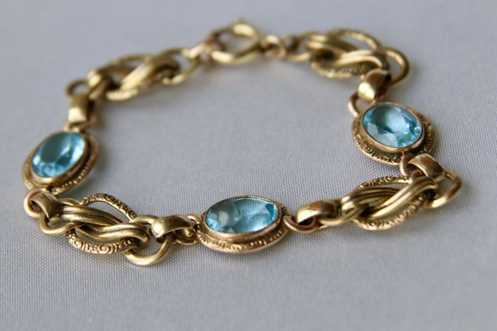 Doublé gold (plated) - Ca. 1930 handcrafted bracelet Germany - 5.10 ct Aquamarines (tested) - Aquamarine