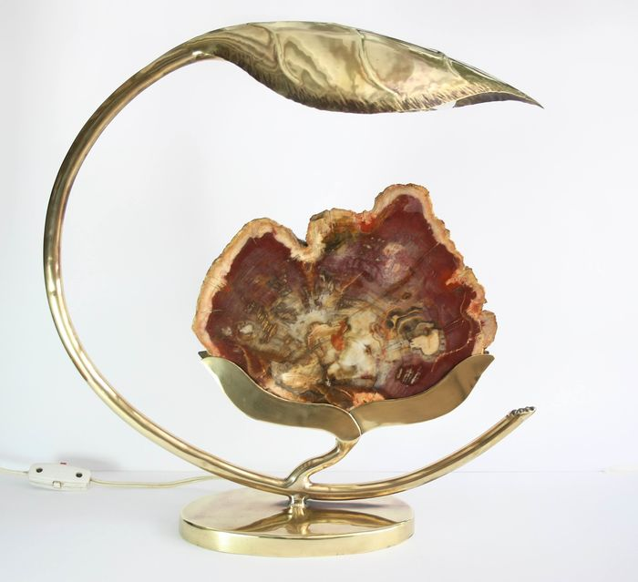 Paris - Lamp in brass and petrified wood, Hollywood Regency c. 1970 Rare - Mid-Century Modern