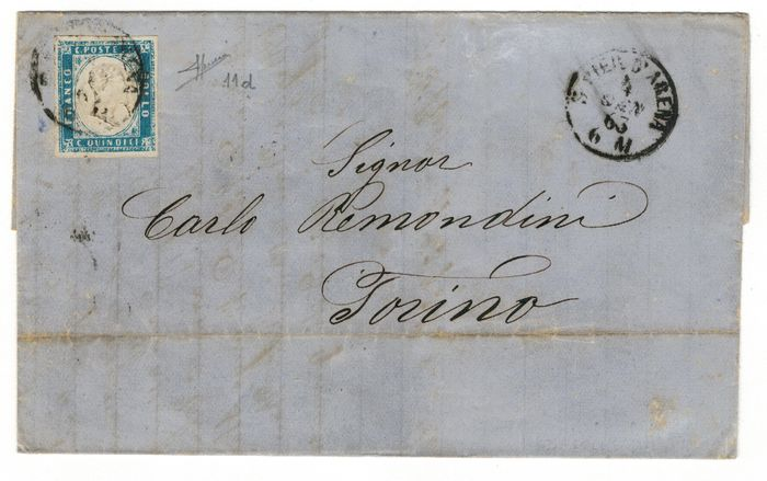 vereinigt 1863 - 15c sky blue milky (11d) used on letter cancelled with circular stamp S. Pier D'Arena 4-1-63 cert - Sassone 2018