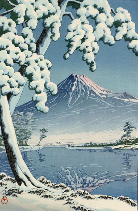 "Original woodblock print, Published by Doi Eiichi - Kawase Hasui (1883-1957) - ""Clear Sky after Snow at Mount Fuji, Tagonoura Beach"" 富士の雪晴 (田子の浦) - Japan - Heisei period (1989-2019)"