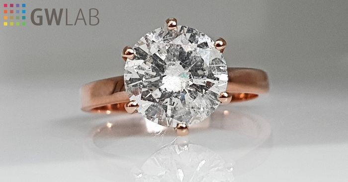 14 kt. Pink gold - Ring - Clarity enhanced 2.78 ct Diamond - No Reserve