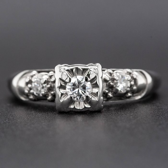 14 kt. White gold, 2.98g - Ring - 0.15 ct Diamond - No Reserve Price