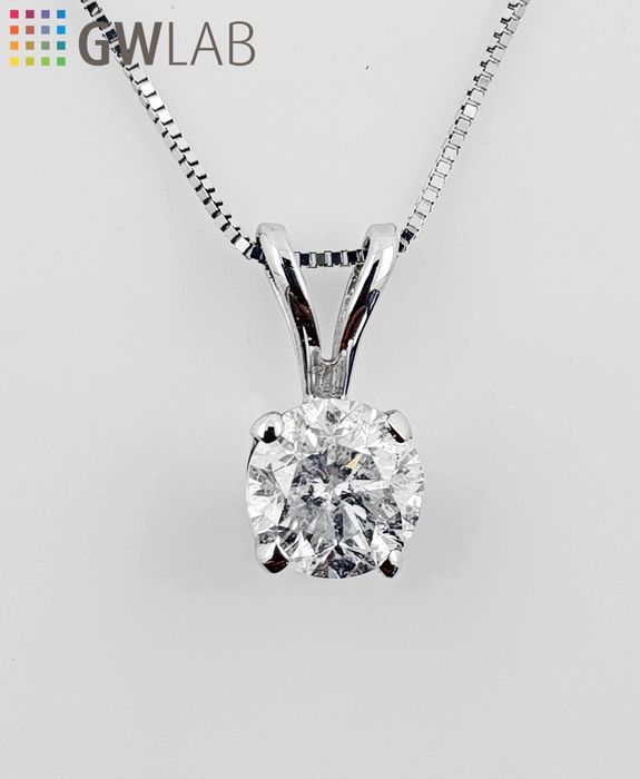 14 kt. White gold - Necklace with pendant - Clarity enhanced 0.85 ct Diamond - No Reserve