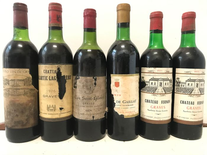 Lot mixte -  Mix Graves vintage , 1978 ,2x 1976 , 1973 and 2x 1971 (See discrition) - Graves - 6 Bouteilles (0,75 L)