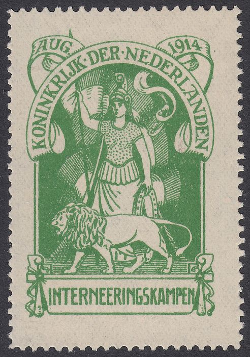 Netherlands 1916 - Internment camp stamp with plate error - Mast Int.1 PM1