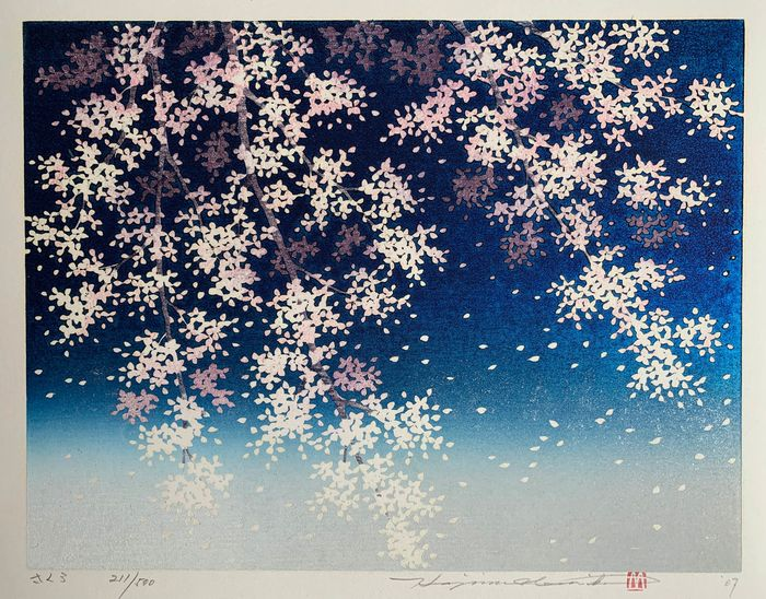 "Original woodblock print - Hajime Namiki (b 1947) - ""Sakura"" さくら (Cherry Blossoms - Blue) - Signed and numbered by artist 211/500 - Japan - 2007"