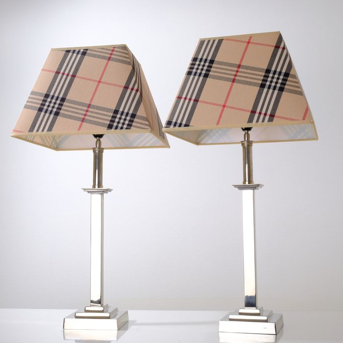 Pair of Identical High Heavy Column Table Lamps - Burberry style pattern shades - Neoclassical Style